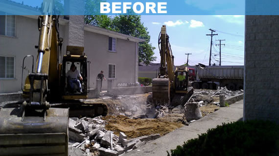 Commercial inground pool demolition in Southfield Michigan